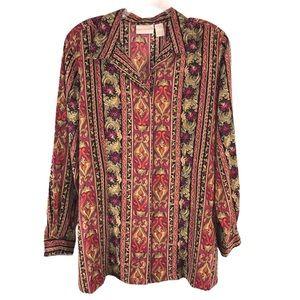 Vintage Multi-print Floral Tunic Blouse